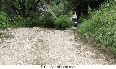SUV drives into the mountain - Rostov on Don, Russian...
