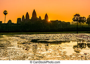 Angkor Wat at sunrrise,Buddhist temple complex in Cambodia -...