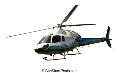 Helicopter in flight isolated against white - Blue and white...