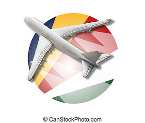 Plane and Seychelles flag - Plane on the background flag of...