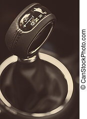 Gear stick - Detail on a automatic gear shifter in a new...
