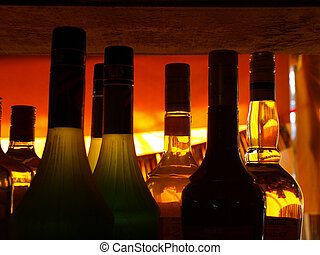 bottles with orange backlight - bottles with orange...