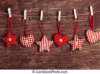 sewed christmas decor - White and red sewed christmas decor...