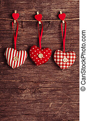 sewed valentine decor - White and red sewed christmas hearts...