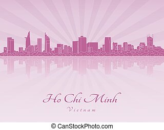 Ho Chi Minh skyline in purple radiant orchid in editable...
