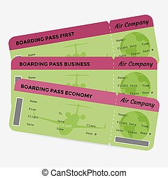 Set of airline boarding pass. Green and pink tickets isolated on white background