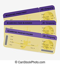 Set of airline boarding pass. Yellow and purple tickets isolated on white background