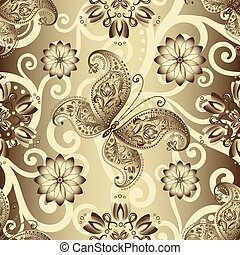 Seamless silvery pattern with vintage butterflies and...
