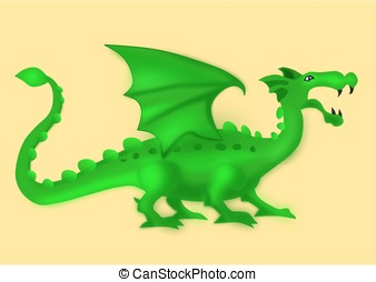 Isolated green dragon on yellow background