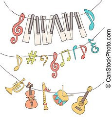 cute musical signs, notes, piano keys, children instruments...