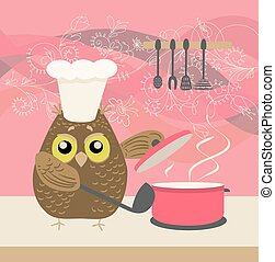 cute owl with a bawl cooking in the kitchen on decorative floral background