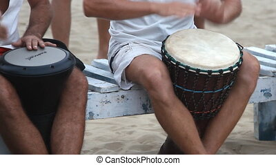 man playing on drum - Goa, India - February 28, 2015:...