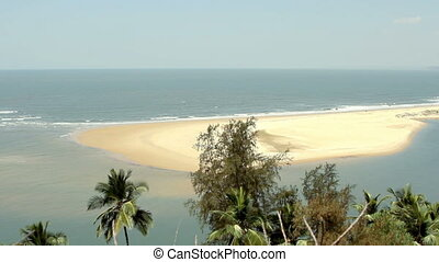 Paradise beach with aerial view. Goa, India.