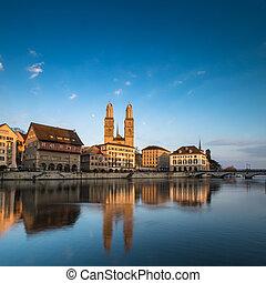 Zurich, Switzerland - view with Grossmunster church