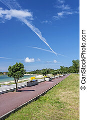 converging routes on Vao park in Arousa Island
