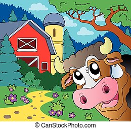 Farm theme with lurking cow - eps10 vector illustration.
