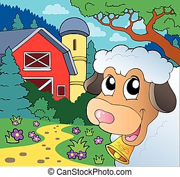 Farm theme with lurking sheep - eps10 vector illustration.