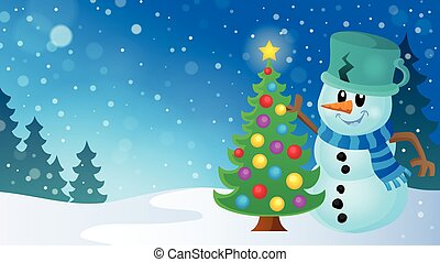 Christmas snowman theme image 8 - eps10 vector illustration