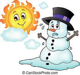 Melting snowman theme image 1 - eps10 vector illustration.