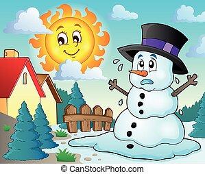 Melting snowman theme image 2 - eps10 vector illustration