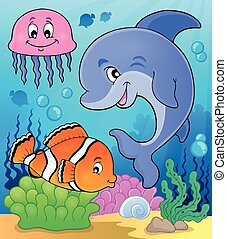 Ocean fauna topic image 2 - eps10 vector illustration