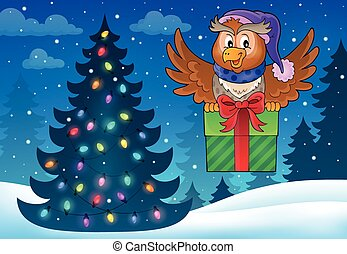 Owl with gift theme image 5 - eps10 vector illustration