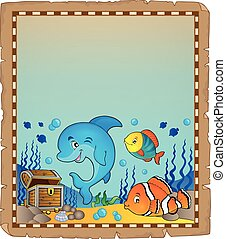 Parchment with underwater theme 8 - eps10 vector...