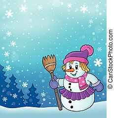 Winter snowwoman topic image 5 - eps10 vector illustration