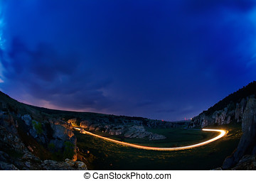 Lightening and storm over hills in the night, Dobrogea,...