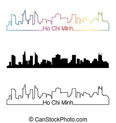 Ho Chi Minh skyline linear style with rainbow in editable...