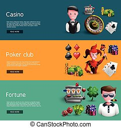 Set Of Three Casino Banners - Banners set of mix casino...
