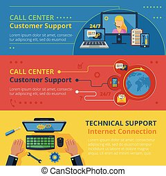Support horizontal banner set with technical call center...