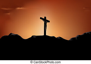 crucifixion - crucified Jesus on cross in the sunset