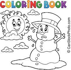 Coloring book melting snowman 1 - eps10 vector illustration