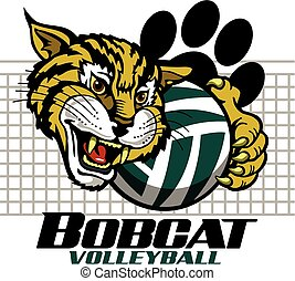 bobcat volleyball team design with mascot and paw print for...