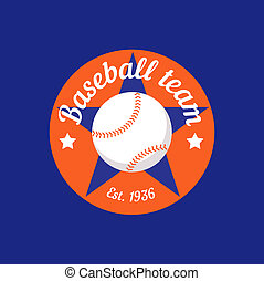 vintage color baseball championship logo or badge Flat style...