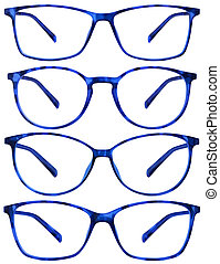 blue spotted glasses isolated on white background