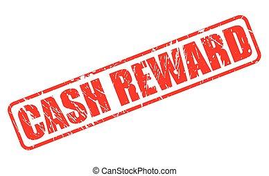 CASH REWARD red stamp text on white