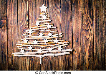 Eco Cristmas tree - Birch branches and white stars in a...