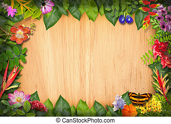 Nature border with flower and green leaf background