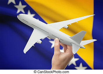 Airplane in hand with flag on background - Bosnia and...