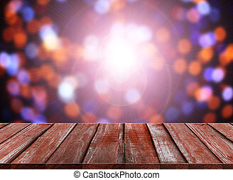 celebration background of Wood table top on colorful bokeh...