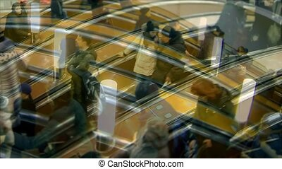 hurry crowd on escalator time lapse - abstract pattern crowd...