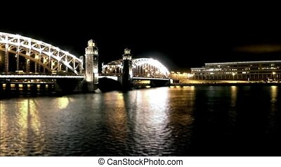 bridge at night time lapse - Bridge of Emperor Peter Great...