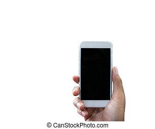 sobre, isolado, mão, telefone, segurando, branca, esperto