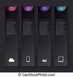Vector illustration of a vertical infographics dark...