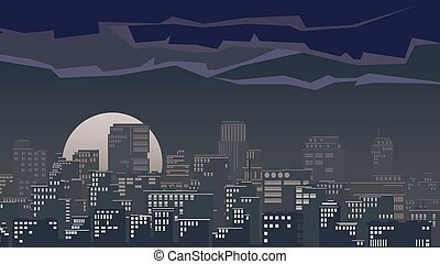Illustration of big city at night - Vector illustration of...