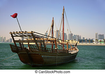 Shuwa\'i dhow in Doha bay - A Qatari shuwa\'i dhow, of the...