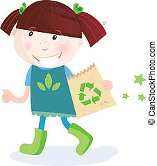 Child support recycling - Small child holding paper bag with...