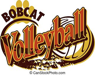 bobcat volleyball team design with paw print for school,...